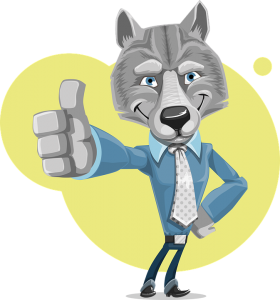 Cartoon wolf showing thumbs up