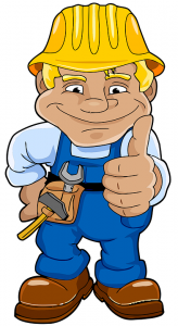 Cartoon worker showing thumbs up