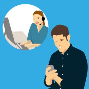 Cartoon man calling customer service