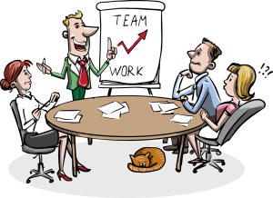 Cartoon people having a meeting