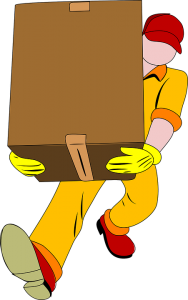 Cartoon man carying boxes - services to expect from your movers