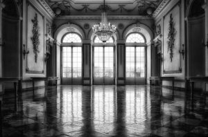 empty castle room black and white