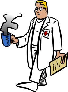 a doctor with coffee