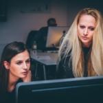 women looking at monitor