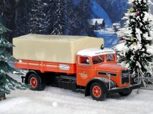 Toy truck in the winter setting