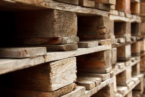wooden pallets stockpiled