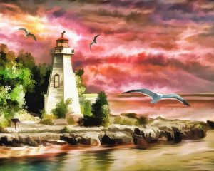 A painting of a lighthouse