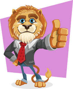 A cartoon lion in a suit showing thumbs up