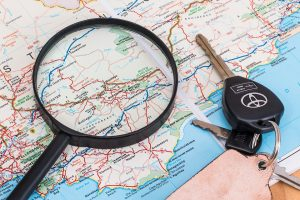 Magnifiers and keys on a map