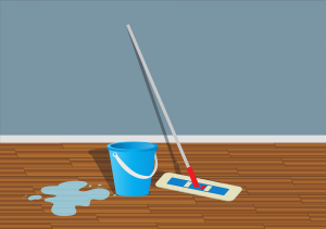 Image of bucket, wiper and a wet floor