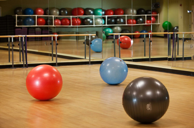 Exercise balls in a gym