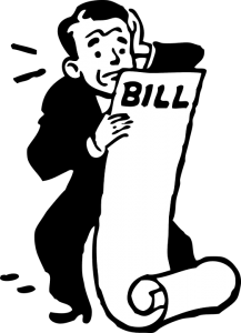 A man worrying about bills