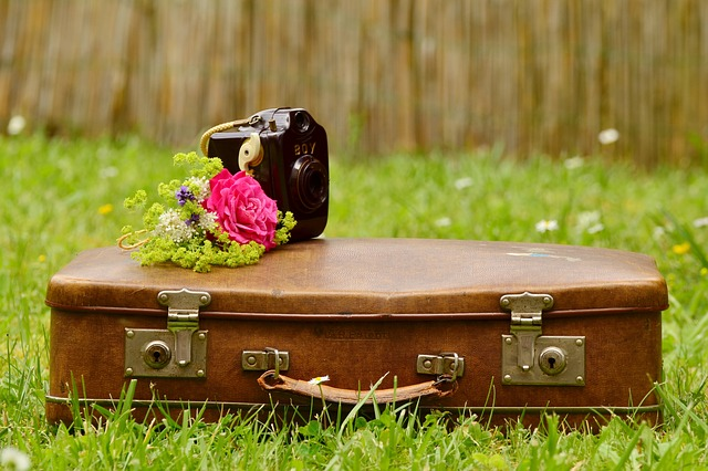 Alternative in-house packing materials. Suitcase with flowers and camera on top.