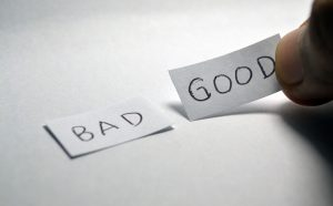 Papers with words bad and good